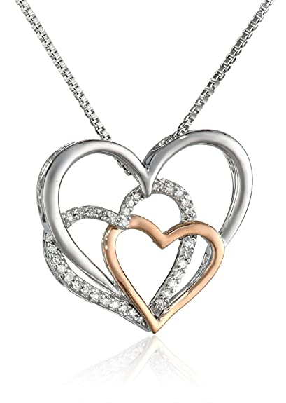 Sterling Silver & Rose Gold Diamond Triple Heart Pendant Necklace