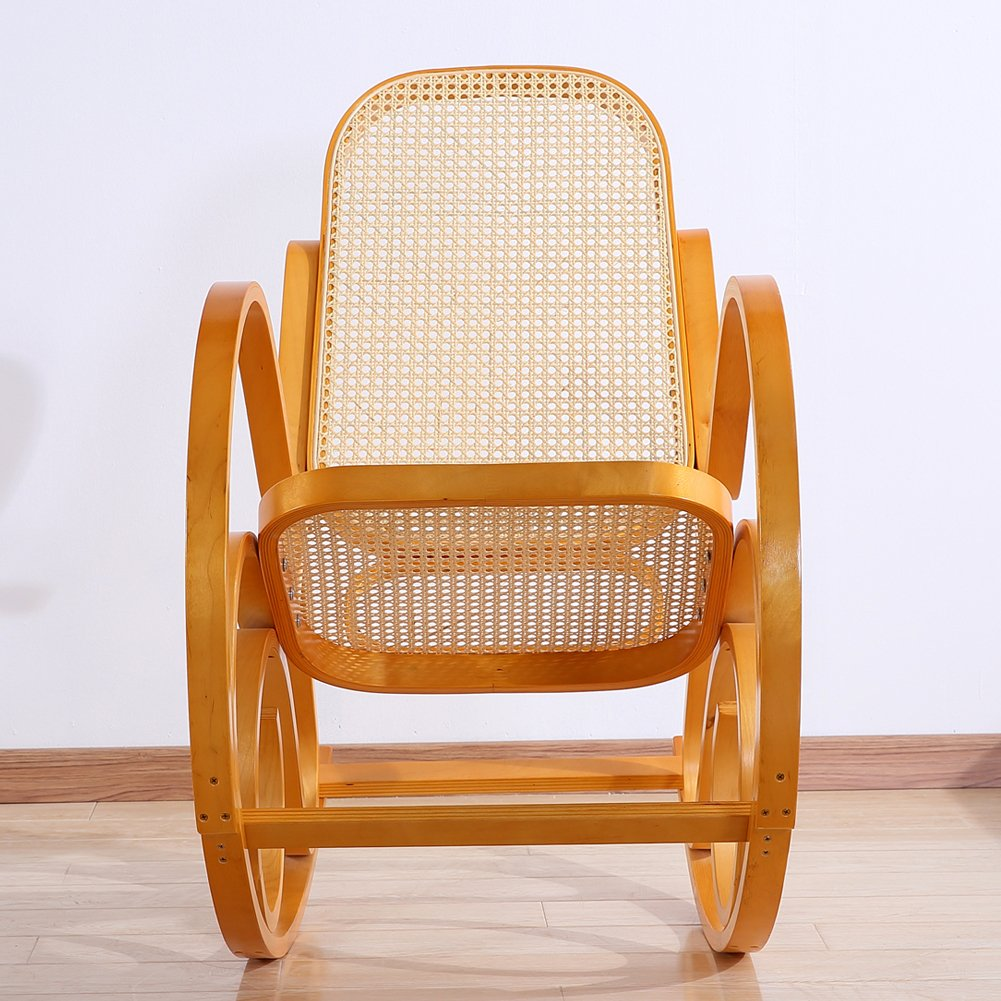 Rocking Chair Rattan Knitting Leisure Chair Vintage Living Room Furniture Conservatory Relax Bentwood Birch Easy Chair (Wood color) 1