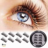 Magnetic False Eyelashes double magnet, No Glue 3D Reusable fashionable Fake lashes, Natural Handmade Extension Fake Eye Lashes, No Glue (0.2mm Ultra Thin, 8pcs) (Color: Black)