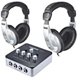 Samson QH4 4-Channel Headphone Amplifier w/ (2) Behringer HPM1000 Headphones