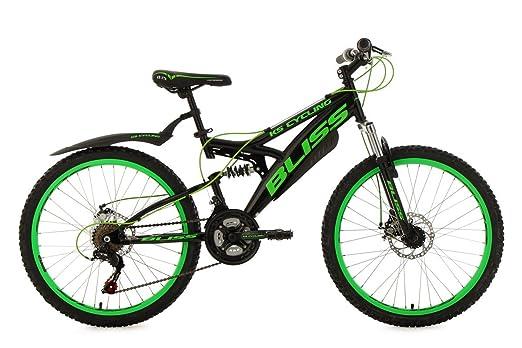 "VTT tout suspendu adolescent 24"" Bliss noir-vert TC 38 cm KS Cycling"