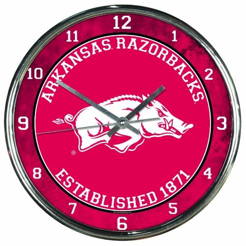 NCAA Arkansas Razorbacks Chrome Clock