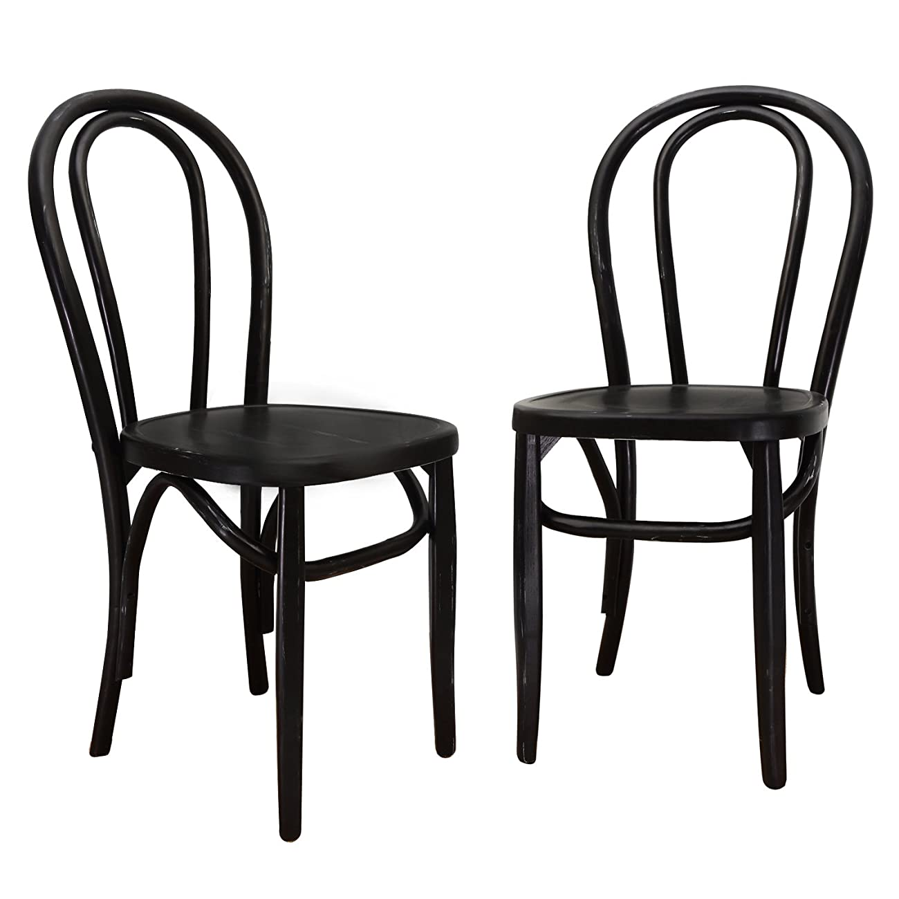 Joveco Vintage Style Solid Wood Dining Chair - Set of 2 (Black) 0