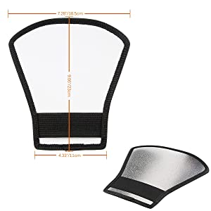 Flash Diffuser Reflector Kit - Bend Bounce Positionable Diffuser + Silver/White Reflector for Speedlight, Universal Mount for Canon Nikon etc