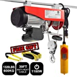 Partsam 1320 lbs Lift Electric Hoist Crane Remote Control Power System, Zinc-Plated Steel Wire Overhead Crane Garage Ceiling Pulley Winch w/Premium Straps (UL/CUL Approval, w/Emergency Stop Switch) (Tamaño: 1320 lbs w/ 2 Slings)