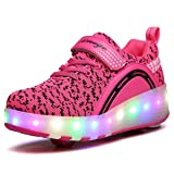 VMATE LED Light Up Roller Skate Shoes Blink Double Wheel Fashion Sports Flashing Sneaker Boys Girls Kid (Color: Pink, Tamaño: 35)