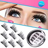 Magnetic Eyelashes 3D Premium Quality False Eyelashes,Full Eye Fake Eyelashes Natural Look 100% Handmade Black Nature Fluffy Long Soft Reusable 4 Pair/8 Pcs (Color: 8PCS)
