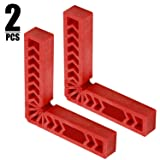 KINJOEK 90 Degree Positioning Squares,6 Inch 2 PCS Right Angle Clamps Woodworking Carpenter Corner Clamping Square Tool for Picture Frames, Boxes, Cabinets or Drawers