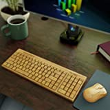 TrioGato's Natural Bamboo Wireless Keyboard and Mouse. Eco Friendly, Handcrafted, Compact Design + Bonus