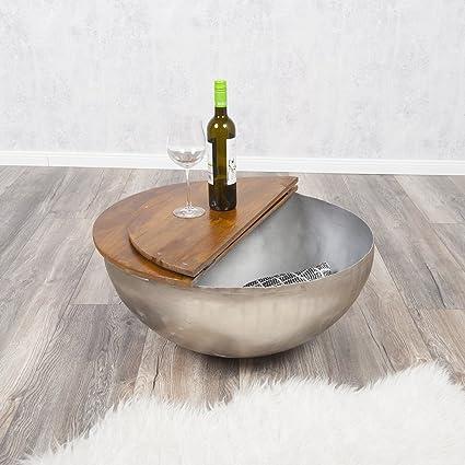 Couchtisch BASNI Stone-S Mangoholz Metall Industrie-Design Beistelltisch 70cm