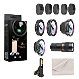 Phone Camera Lens, Hizek 180° Fisheye+0.63X Wide Angle Lens+Macro Lens+9X Telephoto Lens+0.4X Wide Lens for iPhone X/iPhone 8/7/6s/6/5,Samsung,etc (Color: 5 in 1 Phone Lens)