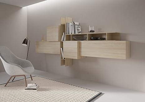 Giessegi Living Soggiorno Componibile Completo, Legno, Olmo, 177.2 x 58 x 147 cm