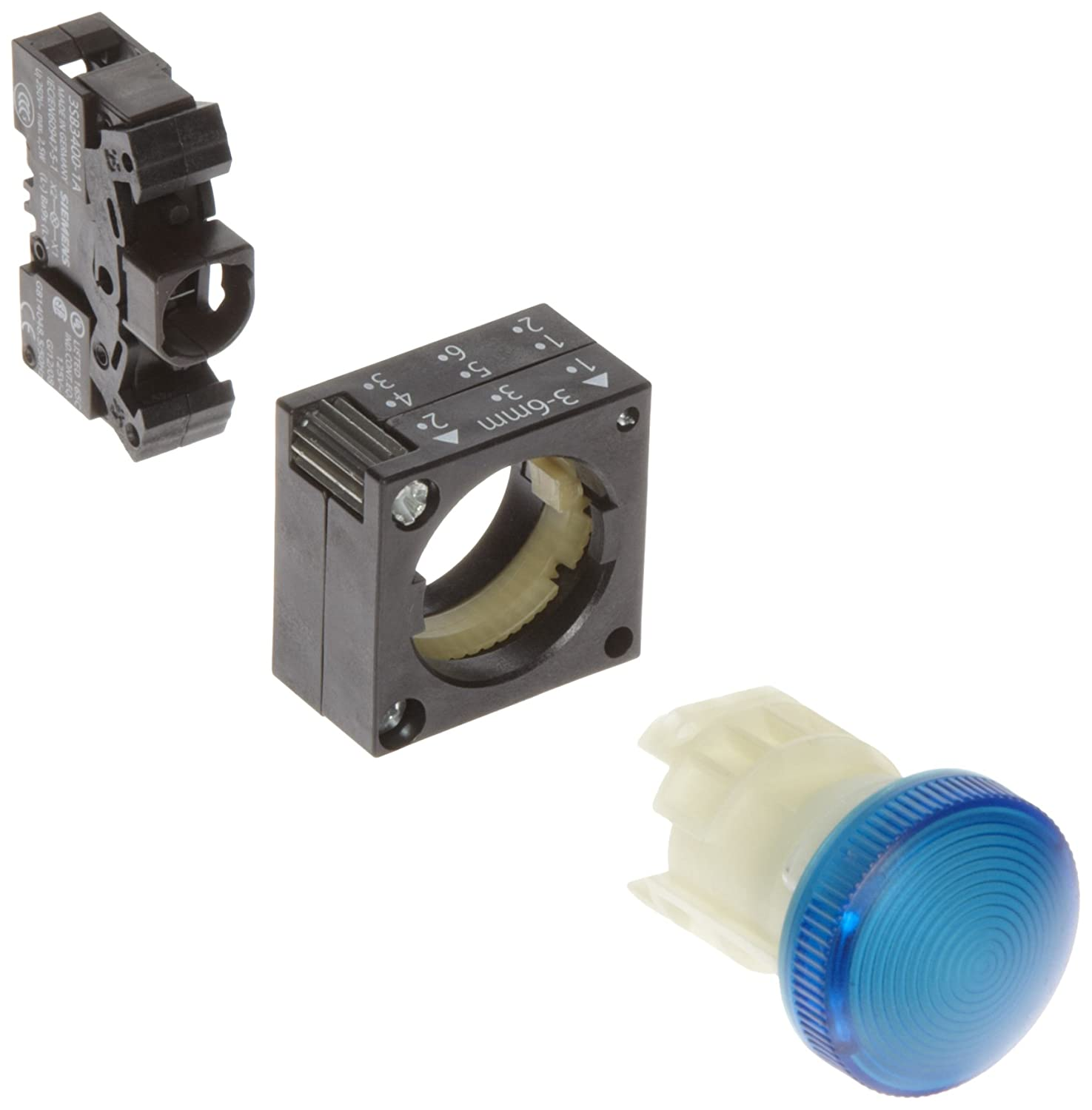 Siemens 3SB32 04-6BA50 Indicator Light, Concentric Rings In Lens, BA 9s Lamp Holder, Blue siemens lc 91 ba 582 ix