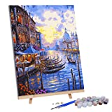 VIGEIYA DIY Paint by Numbers for Adults Include Framed Canvas and Wooden Easel with Brushes and Acrylic Pigment 15.7x19.6inch (City by sea) (Color: city by sea, Tamaño: 15.7*19.6in)