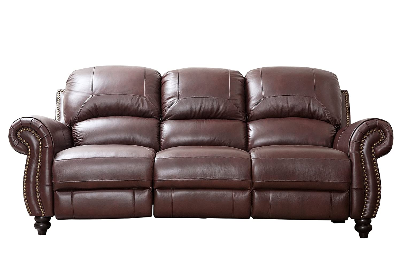 Abbyson Living Durham Leather Pushback Reclining Sofa