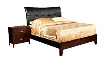Furniture of America Bex 2-Piece Padded Leatherette Platform Bed Set, California King, Brown Cherry Finish