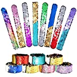 KUUQA 16 Pcs Magic Sequins The Mermaid Bracelets 2-Color Sequin Reversible Glitter Slap Bracelets Charms Wristband for Kids Little Mermaid Birthday Party Favors Bags Supplies (Random Colors) (Tamaño: 16 Pcs)