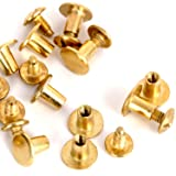 Round Flat Head Chicago Screws Buttons for Leather Crafting, 1/4 Inches (6mm) Repair Screw Post Fastener, Metal Nail Rivet Studs, Gold, 500 Sets, Diameter 5/16 Inches (8mm) (Color: Gold, Tamaño: 500 pcs)