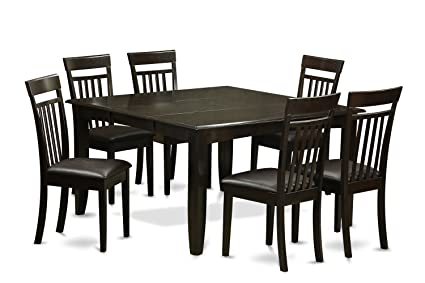 East West Furniture PFCA7-CAP-LC 7-Piece Dining Room Table Set, Cappuccino Finish