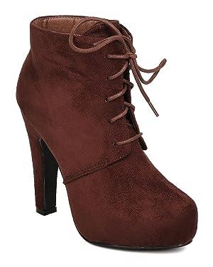 DbDk FD37 Women Faux Suede Almond Toe Lace Up Platform Oxford Bootie - Brown (Size: 10)