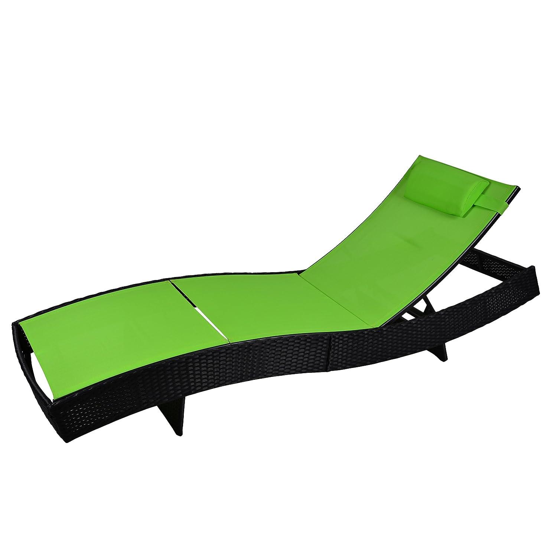 Stahl Liege Poly Rattan Rattanliege Gartenliege Sonnenliege Liegestuhl grün bestellen