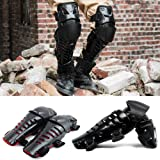 New Motorcycle Racing Motocross Protective Gear Protector Knee Guards Pads (Black+Red) (Color: Black+Red)