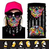 JOEYOUNG 3D Face Sun Mask, Neck Gaiter, Headwear, Magic Scarf, Balaclava, Bandana, Headband for Fishing, Hunting, Yard work, Running, Motorcycling, UV Protection, Great for Men & Women (Color: A-Flag&Skull-988)