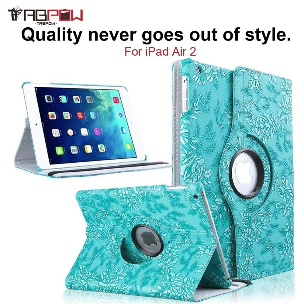 iPad Air 2 Case, TabPow (360 Degrees)(Flip)(Smart Case) Grapevine Turquoise PU Leather Flip Case (Magnetic Closure) Smart Cover With Stand (Auto Sleep/Wake) For Apple iPad Air 2/ iPad 6th Generation