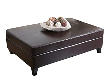 Abbyson Living Frankfurt Leather Storage Flip-Top Ottoman