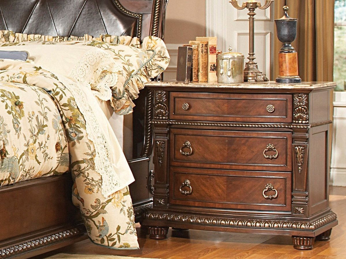 Homelegance Palace Night Stand with Marble Top in Rich Brown