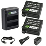 Wasabi Power Battery (2-Pack) and Dual Charger for GoPro HERO4 and GoPro AHDBT-401, AHBBP-401 (with Car and US Plug)