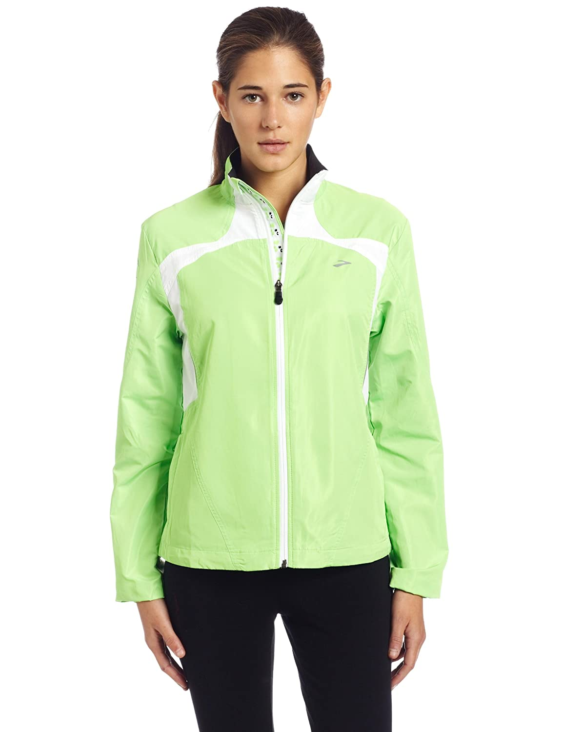 Brooks Women's Essential Run Jacket,Brite Green/Brite White,Small