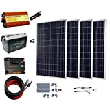 ECO-WORTHY 400 W Solar Panel with 1000W Pure Sine Wave Inverter and 200Ah Battery Complete Kit for RV, Boat, Off-Grid Battery Systems