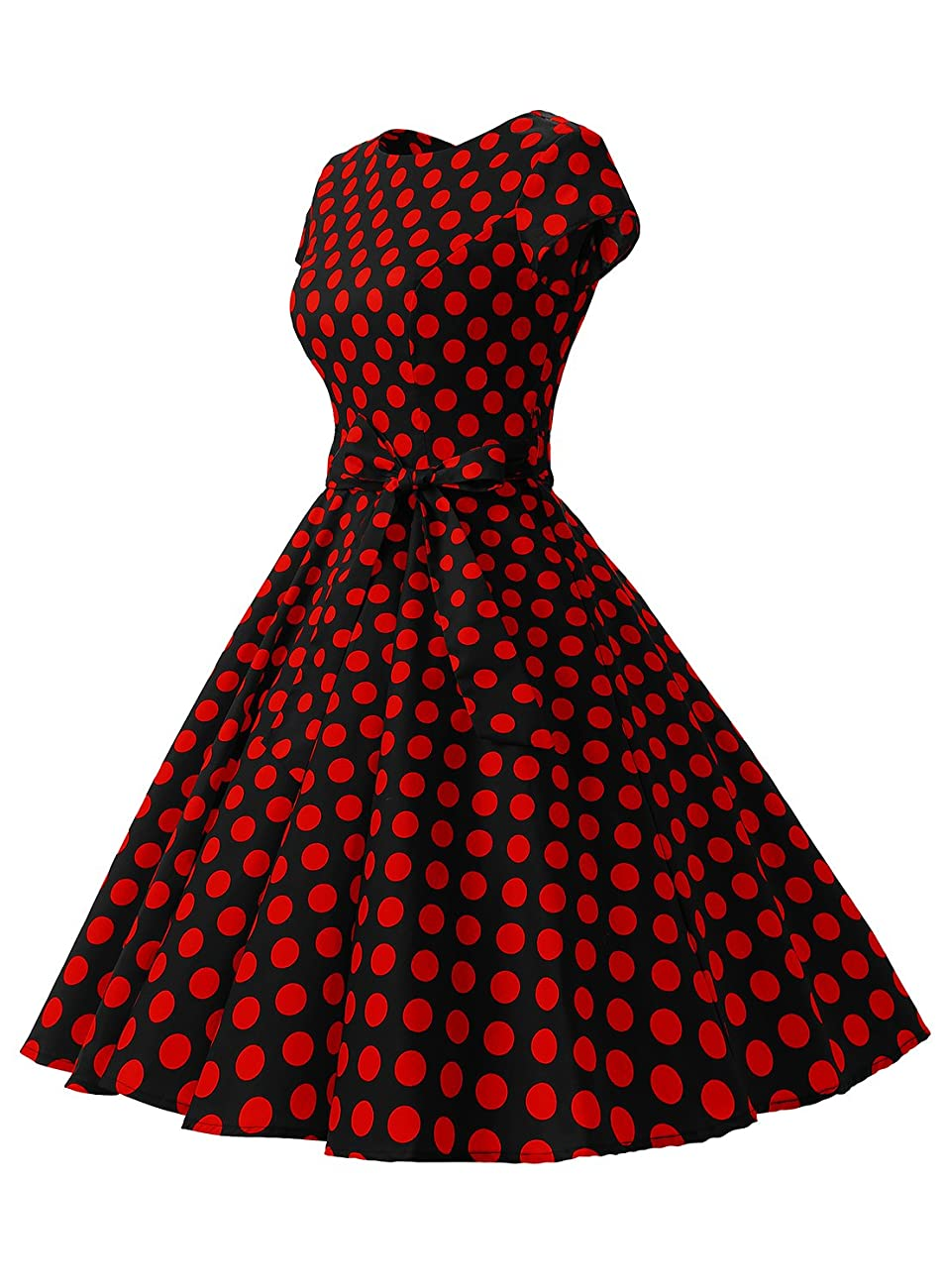 Dressystar Vintage 1950s Polka Dot and Solid Color Party Prom Dresses Rockabilly Cap Sleeves 1