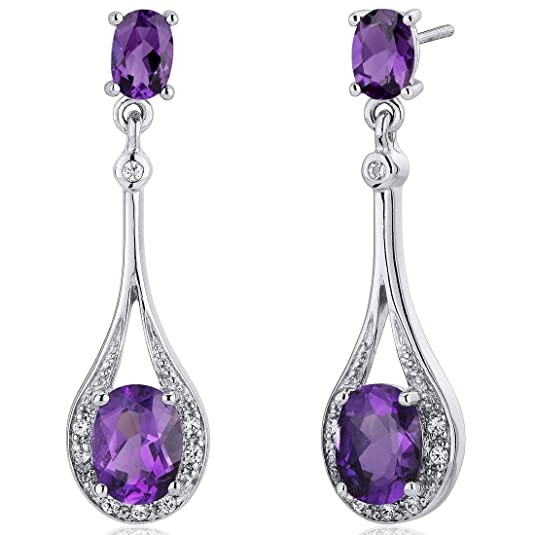 Peora Glamorous 3.50 Carats Amethyst Oval Cut Dangle Diamond CZ Earrings in Sterling Silver Rhodium Finish
