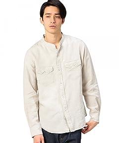 Beauty & Youth Linen Band Collar Western Shirt 1211-163-6620: Natural