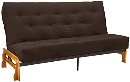 Epic Furnishings 10-Inch Loft Innerspring Springaire Microfiber Suede/Twill Cased Futon, Full, Brown