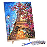 VIGEIYA DIY Paint by Numbers for Adults Include Framed Canvas and Wooden Easel with Brushes and Acrylic Pigment 15.7x19.6inch (Eiffel Tower) (Color: Eiffel Tower, Tamaño: 15.7*19.6in)