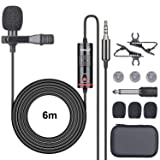 2in1 Switchable Mobile Cell Phone/DSLR Camera Camcorder Lavalier Microphone Lapel Mic for Studio Video Recording Live Streaming Vlogging YouTube Podcast Commentary Anchorperson -3.5mm Jack/ 6M Cord (Color: 2in1 Mic)