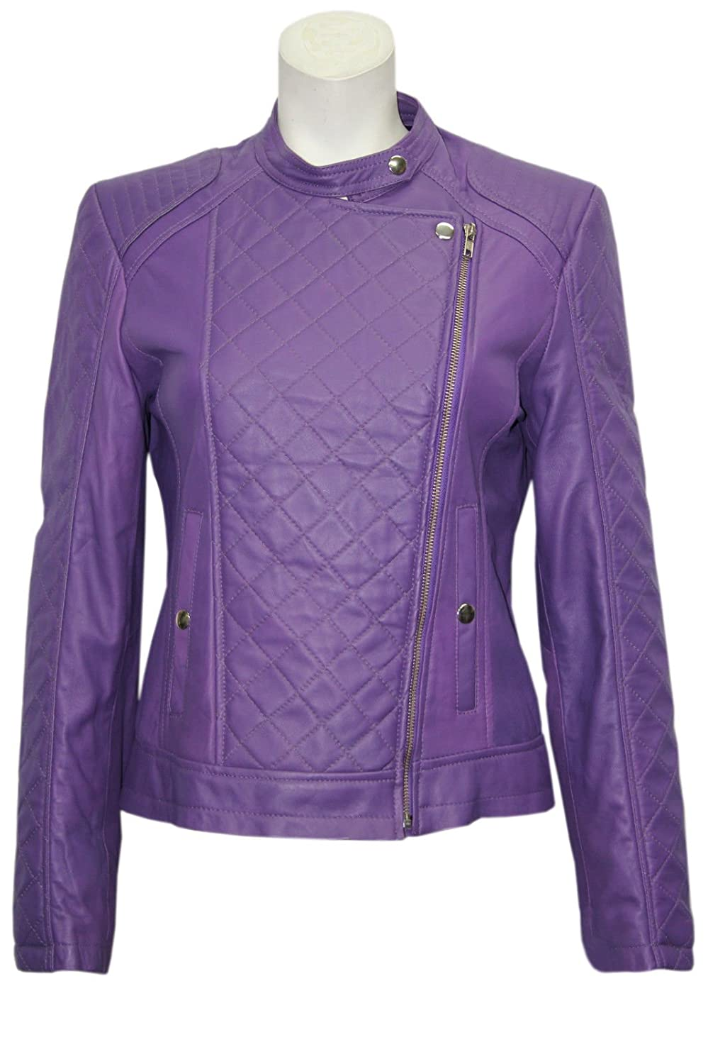 Ladies Diamond Purple Stylish Fashion Designer Quilted Soft Real Leather Jacket deep purple deep purple stormbringer 35th anniversary edition cd dvd