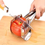Best Utensils Tomato Slicer Lemon Cutter Multipurpose Handheld Round Fruit Tongs Stainless Steel Onion Holder Easy Slicing Kiwi Fruits & Vegetable Tools Kitchen Cutting Aid Gadgets Tool (Color: Silver)