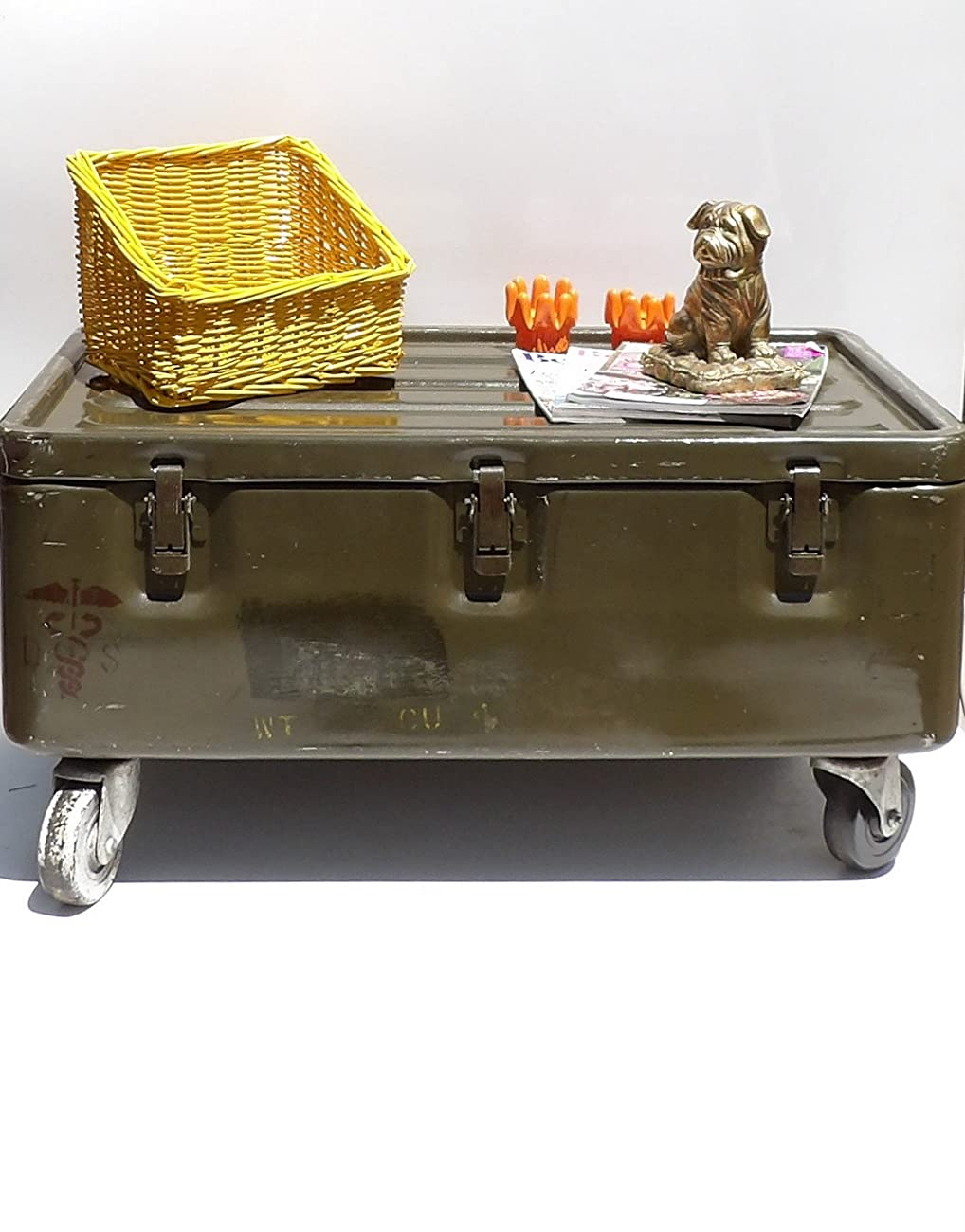 Military Trunk Coffee Table Foot Locker on Wheels