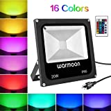 Warmoon 20W LED Flood Light,IP66 Waterproof Outdoor LED Light,Outdoor Color Changing LED Security Light,16 Colors 4 Modes Dimmable Wall Washer Light,Stage Lighting,LED RGB Flood Light (Color: RGB (Red, Green, Blue), Tamaño: 20W)