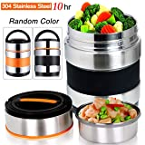 Vacuum Insulated Lunch Box Stainless Steel Food Jar 2 Tiers Food Container Food Carriers Thermal Lunch Container Food Storage Box 1.4L Holding Time 6hr 7x5''(Random Black or Orange Color) (Color: Color 3)