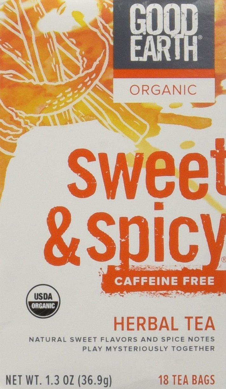 Good Earth Teas Organic Sweet and Spicy Caffeine Free Herbal 18 Tea Bags, 4 Count