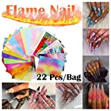 Shybuy 16PCS Nail Art Stickers Flame Reflections Tape Adhesive Foils DIY Decoration Nail Decor (16 solid color + 6 colorful) (Color: 16 solid color + 6 colorful)