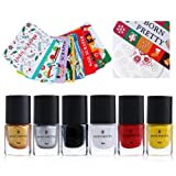 Born Pretty 6ml Nail Art Stamping Polish Set Gold Silver Black Manicure Print Lacquer with 10pcs Scrapers DIY Tool Kit