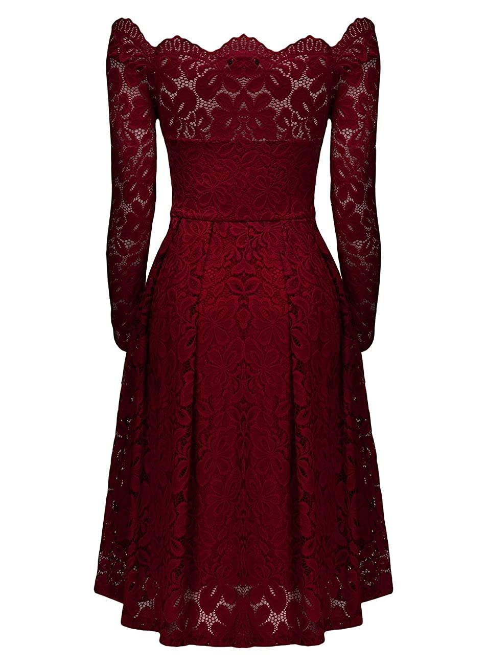 MissMay Women's Vintage Floral Lace Long Sleeve Boat Neck Cocktail Formal Swing Dress 3