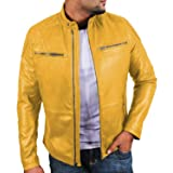 Laverapelle Men's Yellow Genuine Lambskin Leather Jacket - 1501225 - Extra Small (Color: 16a- Yellow - With Polyster Lining, Tamaño: X-Small)