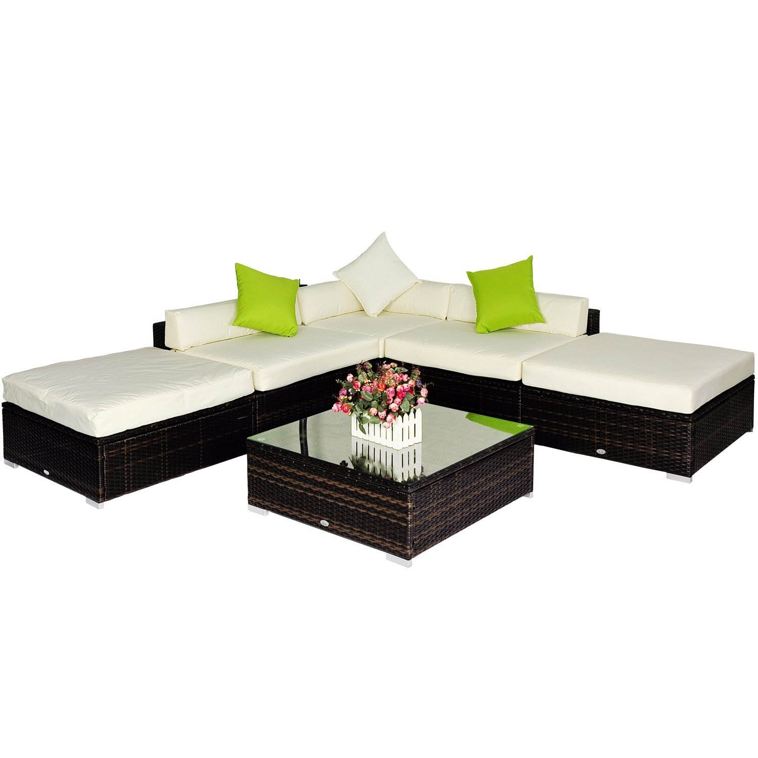 outsunny gartenset polyrattan gartenm bel alu rattan sitzgruppe garnitur 18 teilig braun. Black Bedroom Furniture Sets. Home Design Ideas